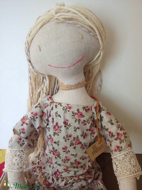 AKCIÓ /6500 helyett 5300 ft /Rózsás ruhás öltöztethetős baba kalappal /80 CM MAGAS - Meska.hu