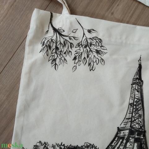 Natúr színű vászontáska skiccelt Eiffel-torony ~ párizsi tájkép mintával ~ megrendelésre! - Meska.hu