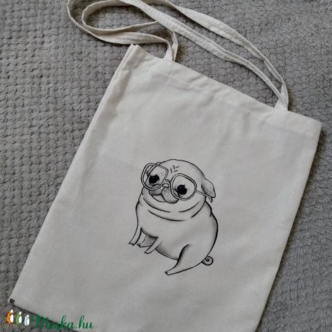 cuki mopsz, kézzel rajzolt, kutyás natúr vászontáska - táska & tok - bevásárlás & shopper táska - shopper, textiltáska, szatyor - Meska.hu