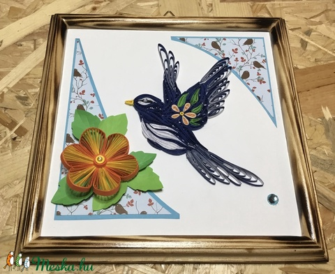 Kék madaras quilling kép (Teniko87) - Meska.hu