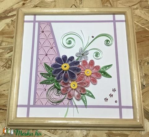 Pasztel színű virágos quilling kép  (Teniko87) - Meska.hu