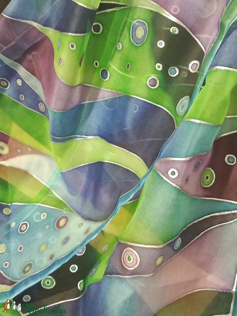 Kék-zöld sávos kézzel festett selyemkendő (Tercsill) - Meska.hu