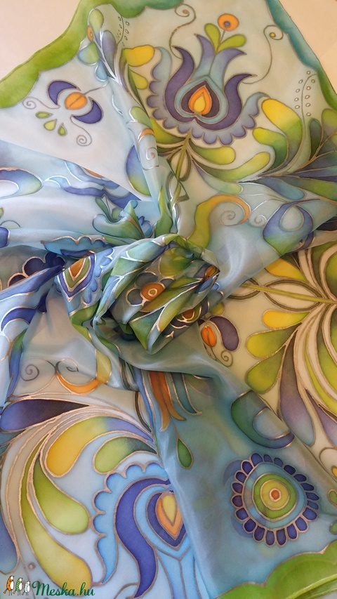 Jászsági hímzés mintával, kézzel festett selyemsál kék árnyalatokkal (Tercsill) - Meska.hu