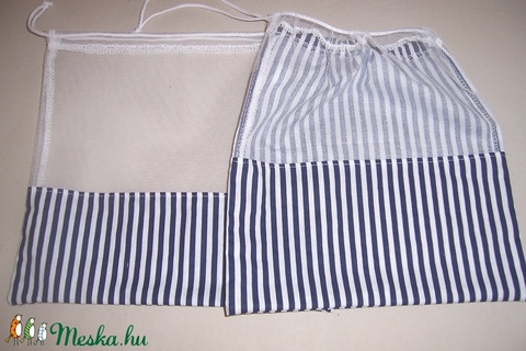 Textilzsák 2 db-os szett kék csíkos mintás  (textilcseppek) - Meska.hu