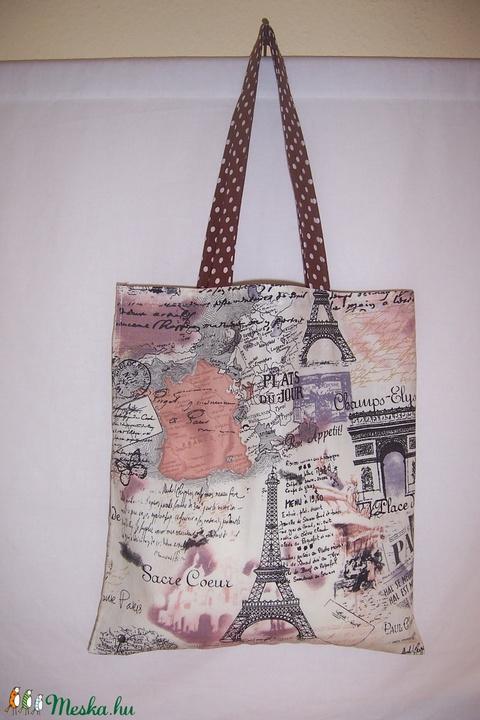 Párizs mintás táska barna (textilcseppek) - Meska.hu