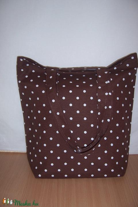 Nagyméretű barna pöttyös táska  (textilcseppek) - Meska.hu