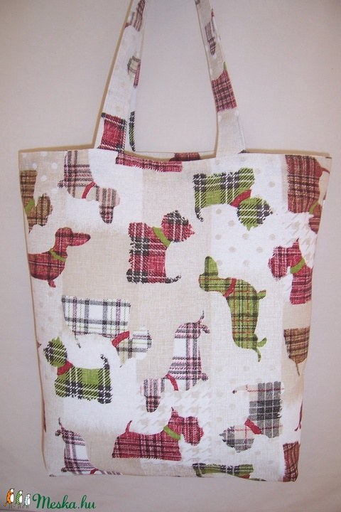 Kockás kutya mintás táska  (textilcseppek) - Meska.hu
