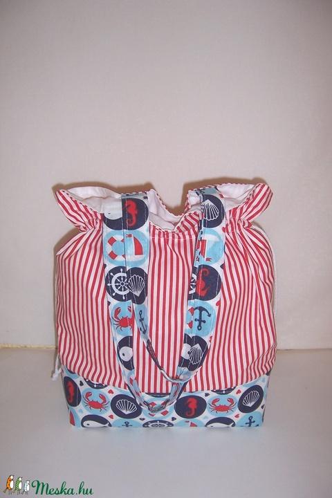"""Tengerész mintás """"batyu"""" táska bélelt, normál füllel  (textilcseppek) - Meska.hu"""