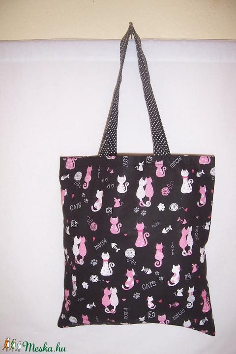 Fekete cica mintás táska rózsaszín  (textilcseppek) - Meska.hu