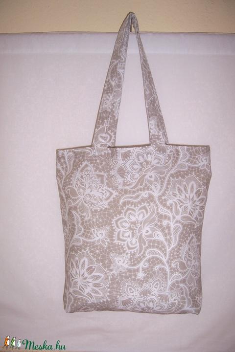 Drapp csipkemintás táska  (textilcseppek) - Meska.hu