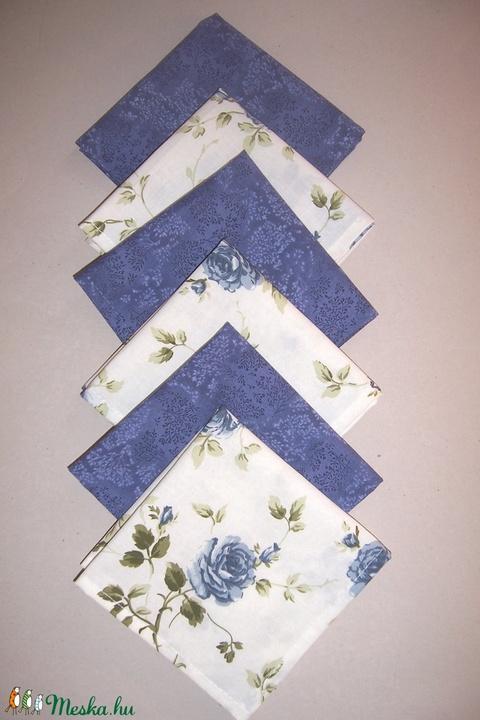 Textil szalvéta 6 db kék rózsás  (textilcseppek) - Meska.hu