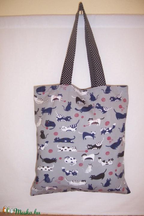 Szürke cica mintás táska  (textilcseppek) - Meska.hu