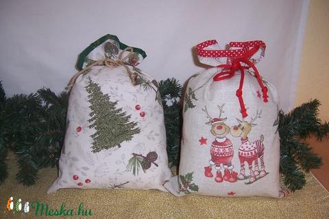 Ajándék átadó textilzsák karácsonyi konyhás (textilcseppek) - Meska.hu