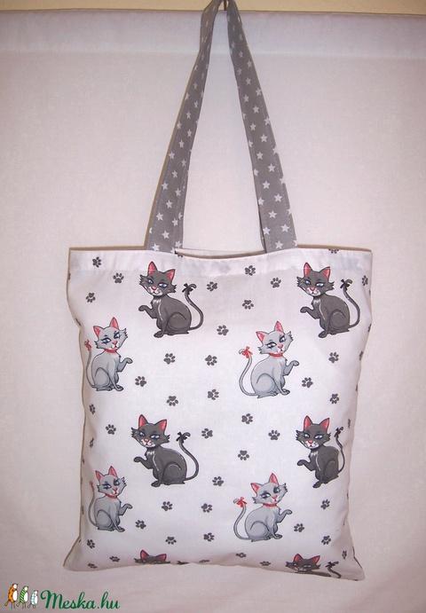 Szürke cica mintás táska fehér  (textilcseppek) - Meska.hu