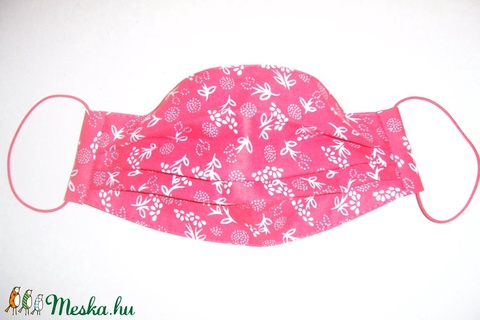 Textilmaszk piros fehér virág mintás (textilcseppek) - Meska.hu