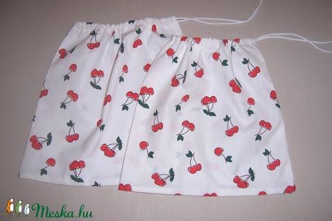 Textilzsák szett 2 db-os cseresznyés (textilcseppek) - Meska.hu