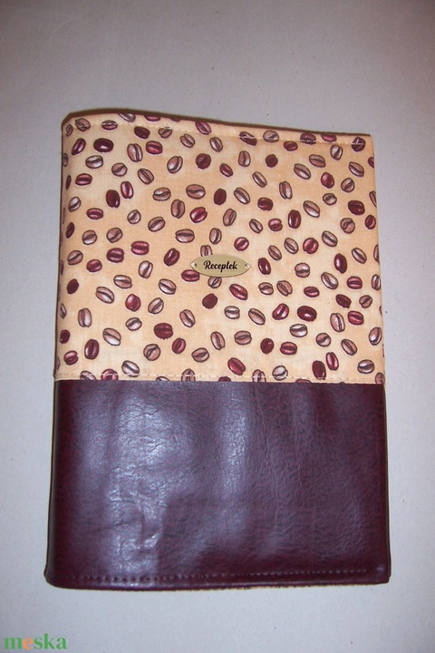 Mappa textil borítóval kávés (textilcseppek) - Meska.hu