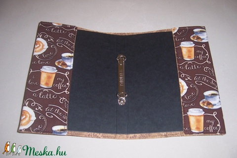 Mappa textil borítóval kávés poharas (textilcseppek) - Meska.hu