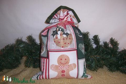 Ajándék átadó textilzsák karácsonyi patchwork  (textilcseppek) - Meska.hu