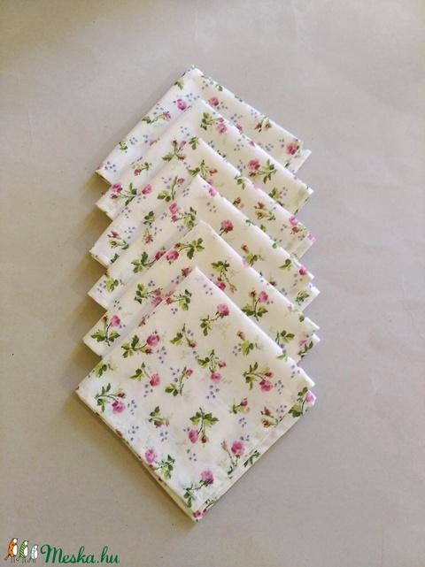 Textil szalvéta 6 db bordó virágos  (textilcseppek) - Meska.hu