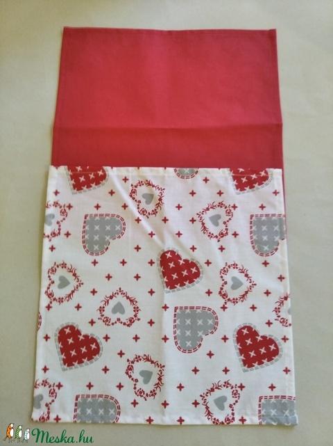 Textil szalvéta 2db piros szív (textilcseppek) - Meska.hu