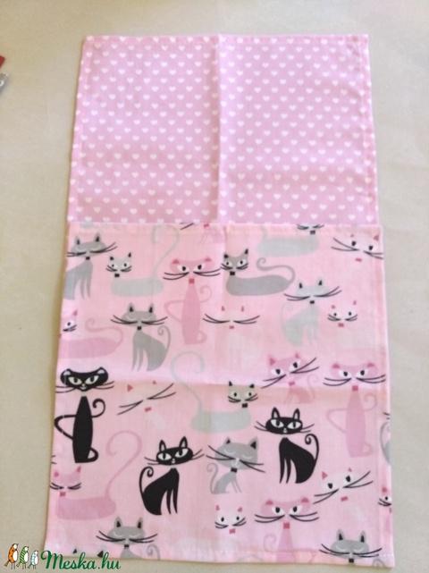 Textil szalvéta 2 db rózsaszín cicás (textilcseppek) - Meska.hu