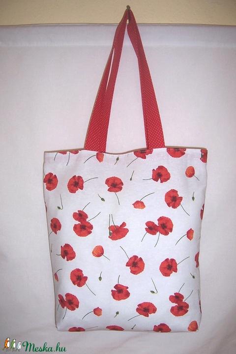 Sok pipacsos fehér táska  (textilcseppek) - Meska.hu