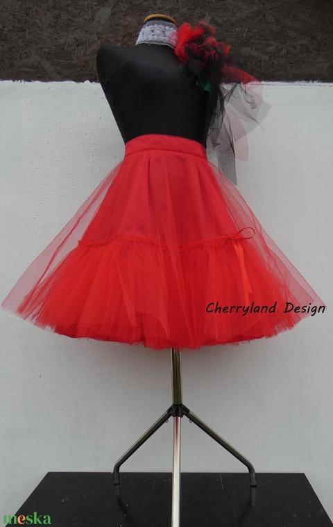 Cherryland Design Piros-Fehér pöttyös rockabilly szoknya./Alsószoknyával - Meska.hu