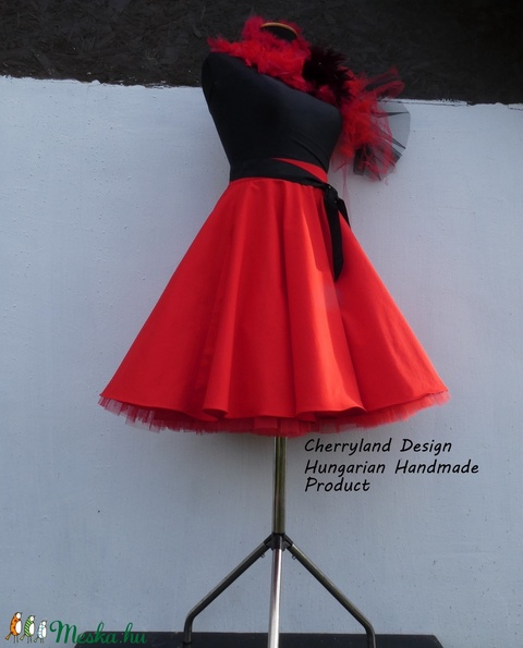 Cherryland Design Piros pamutvászon   Rockabilly stílusú szoknya /Alsószoknya - Meska.hu