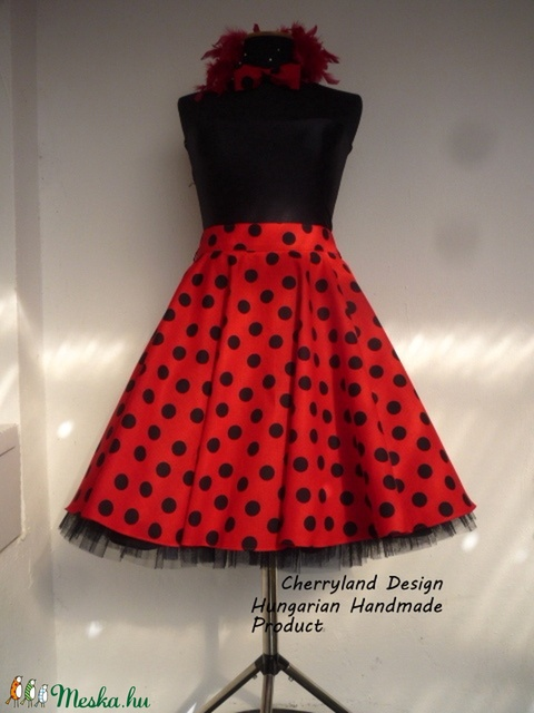 Cherryland Design Katica Piros alapon fekete Pöttyös Rockabilly szoknya./Alsószoknya - Meska.hu