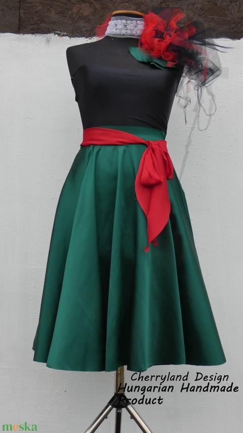 Cherryland Design Zöld szatén szoknya. - ruha & divat - női ruha - szoknya - Meska.hu