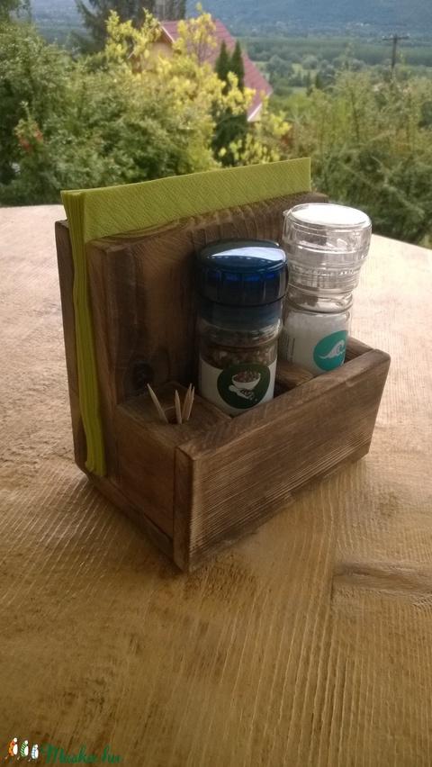 Rusztikus fűszer (fűszermalom), szalvéta és fogvájó tartó. (TomArtCollection) - Meska.hu