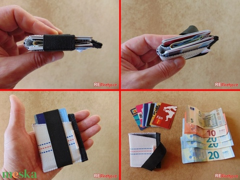 Mini tűzoltó tömlő strapabíró bankkártya névjegy irattartó biztonságos kártyatartó 6-8 kártya papírpénz számára -VULCANO (Trashman) - Meska.hu