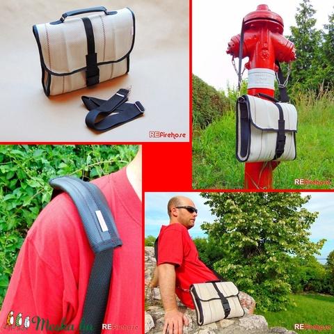 Tűzoltó tömlő válltáska , kézi táska , laptop táska vállvédővel - újrahasznosított uniszex táska nem csak tűzoltóknak (Trashman) - Meska.hu