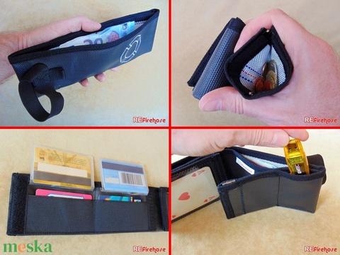 Fekete férfi pénztárca tűzoltó tömlőből fehér Flórián kereszttel bankkártya névjegy irattartó hasznos ajándék tűzoltónak (Trashman) - Meska.hu
