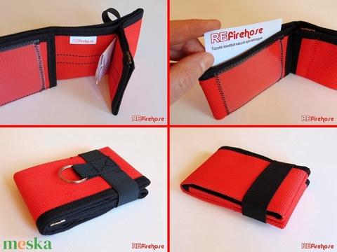 Piros pénztárca strapabíró tűzoltó tömlőből bankkártya névjegy irattartó hasznos praktikus ajándék nem csak férfiaknak - Meska.hu
