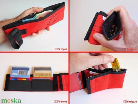 Piros pénztárca tűzoltó tömlőből fekete Flórián kereszttel bankkártya névjegy irattartó praktikus ajándék tűzoltóknak (Trashman) - Meska.hu