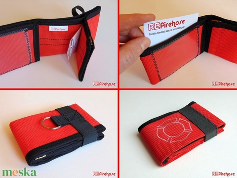 Piros pénztárca tűzoltó tömlőből fehér Flórián kereszttel bankkártya névjegy irattartó praktikus ajándék tűzoltóknak (Trashman) - Meska.hu