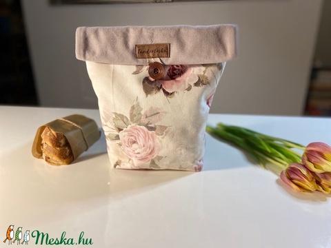 Uzsonnás táska,  PUL béléssel (élelmiszerbiztos) - Vintage rózsás (Tundertaska) - Meska.hu