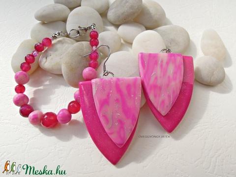 Pink Cranberry  -  fülbevaó és karkötő (uveggyongyjatek) - Meska.hu