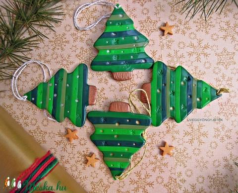 Csíkos karácsonyfa csomag -  ajándékkísérő, dekoráció, dísz (uveggyongyjatek) - Meska.hu
