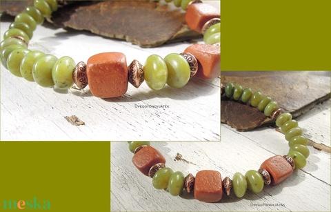 Olive  -  ásvány karkötő férfiaknak, szerpentin karkötő, unisex karkötő (uveggyongyjatek) - Meska.hu