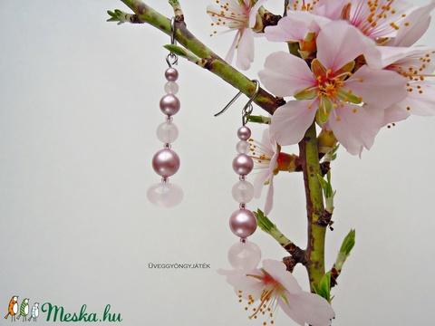 Mandulavirág  -  fülbevaló Swarovski gyönggyel, ásvány fülbevaló, rózsaszín fülbevaló (uveggyongyjatek) - Meska.hu
