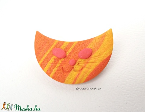 Narancs cica  -  narancssárga kitűző, macska bross (uveggyongyjatek) - Meska.hu