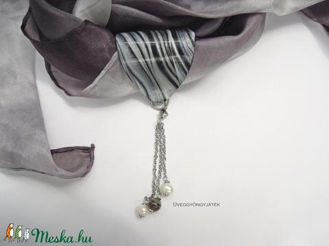 Ezüstszínű éjszaka  -  kendőre, sálra fűzhető sál ékszer, sál gyűrű (kendő nélkül) (uveggyongyjatek) - Meska.hu