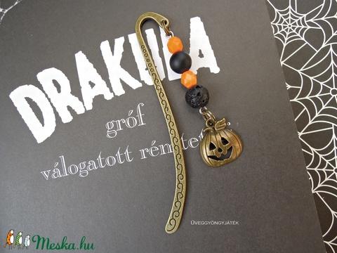 Könyvjelző rémtörténetekhez  -  halloween tök (uveggyongyjatek) - Meska.hu
