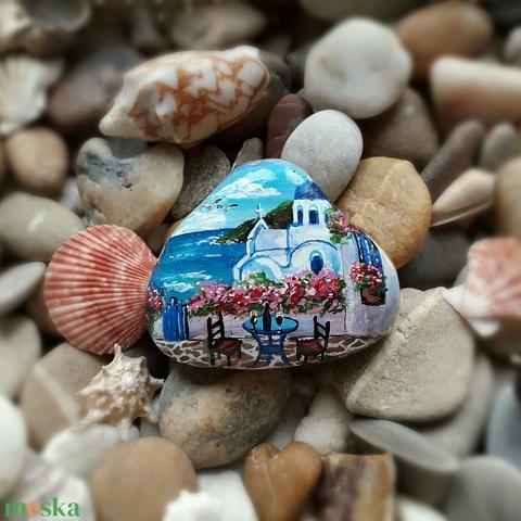 kézzel festett Görögország kavicson - Meska.hu