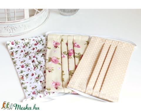 Arcmaszk szűrőtartóval szájmaszk dupla rétegű 100% pamut mosható vasalható újra használható, puha gumival bézs pöttyös (Varrazslat) - Meska.hu