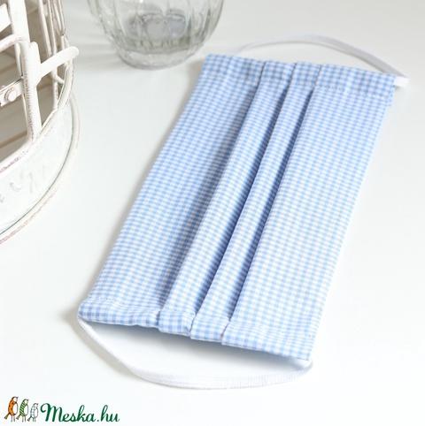Felnőtt arcmaszk szűrőtartóval szájmaszk dupla 2 réteg pamut mosható vasalható újra használható kék aprókockás - Meska.hu