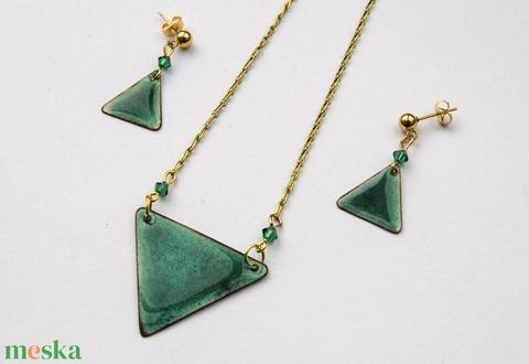TÜRKIZKÉK tűzzománc nyaklánc és fülbevaló szett - türkiz arany ékszerszett - nyaklánc és fülbevaló Swarovski gyönggyel (VIANdesign) - Meska.hu